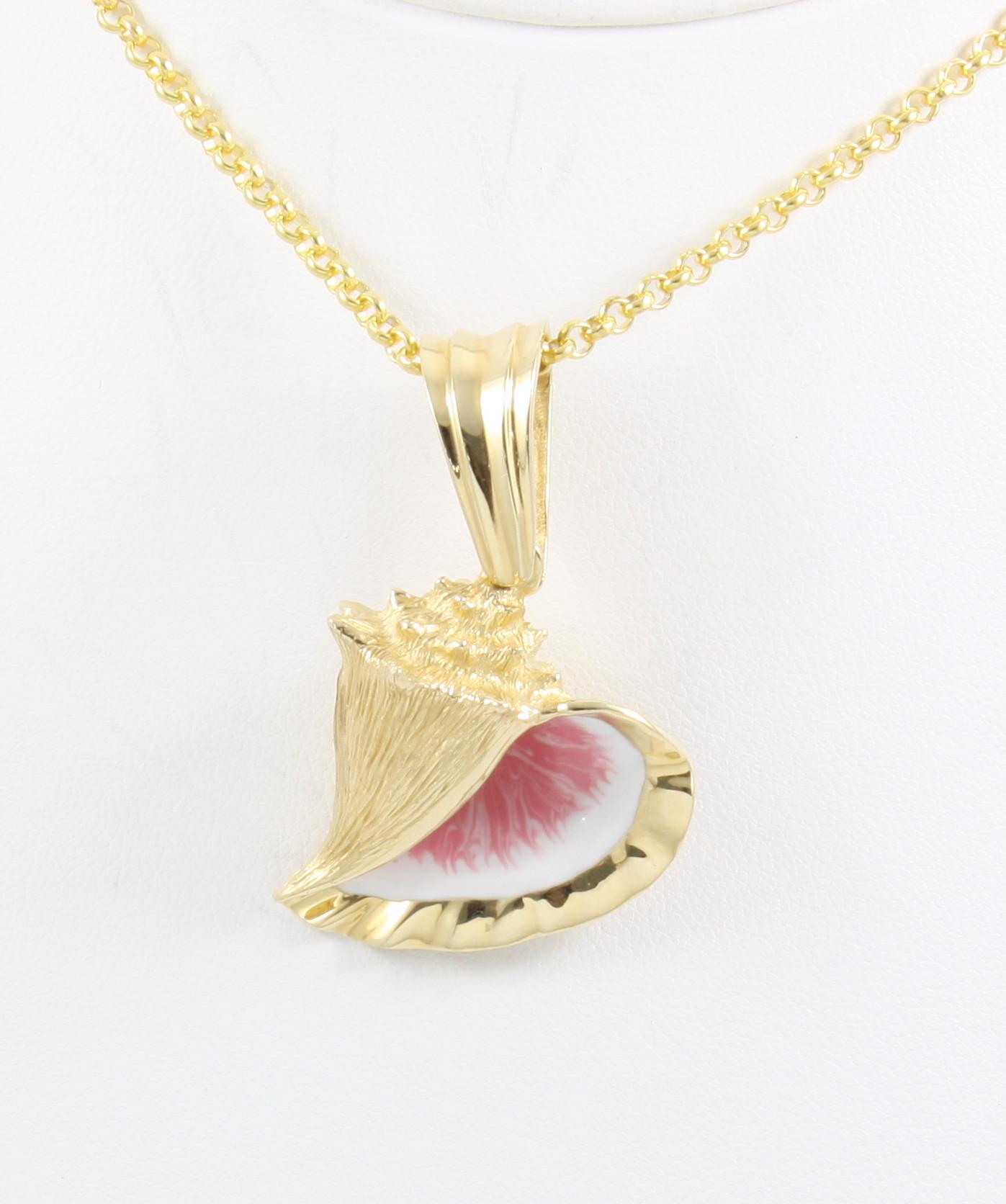 14k conch shell pendant large neptune designs custom