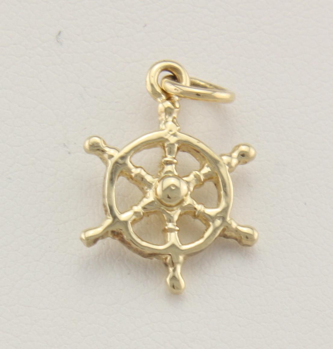 Tiny ship 39 s wheel 14karat neptune designs custom for Key west jewelry stores